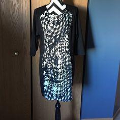 Mark New York Black dress whit black and white panel in front Mark new york Dresses Midi