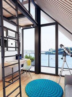 Projekt domu Malutki dr-S 79,48 m2 - koszt budowy 199 tys. zł - EXTRADOM Modern Barn House, Modern Houses, Scandinavian Style, Contemporary Design, Beach House, Cottage, Kids Rugs, Construction, House Design