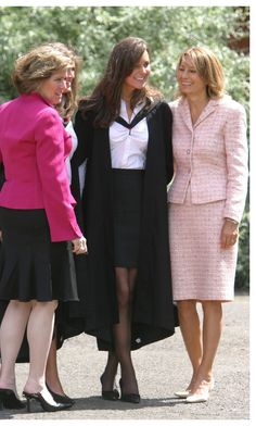 Kate Middleton with her mother on the day of her college graduation from St. Andrews University.