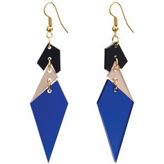 Toolally Abstract Diamond Shaped Drop Earrings, Sapphire/Multi ($31) ❤ liked on Polyvore featuring jewelry, earrings, sapphire jewelry, sapphire jewellery, hook earrings, earring jewelry and tools jewellery