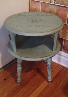 Turquoise Two Tier End Table Furniture Refinishing
