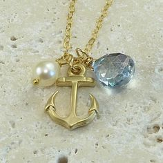 Personalized Jewelry Gemstone Anchor Charm Necklace - Come Sail Away - Handmade Holiday Fashion. $34.00, via Etsy.