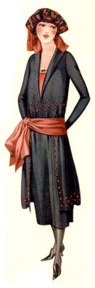 A dress from 1921 that is still heavily influenced by Victorian fashions even though the hem has risen. #fashion #1920s