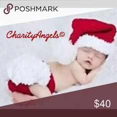 Santa Baby hat & diaper cover. So cute! Handmade These items do take 3-4 days to ship normally as they are hand made By myself or other Charity Angel volunteers! If you need it quicker please discuss before Purchase! We may can speed up the process! Miracles & Blessings To you & yours this Christ-mas season! CharityAngels Matching Sets