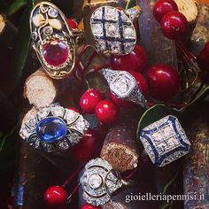 Berries, Art Deco and Art Nouveau  Rings on our Christmas Tree.