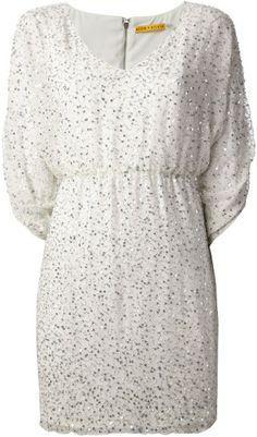 ALICE + OLIVIA White Silver Tone Sequin Dress