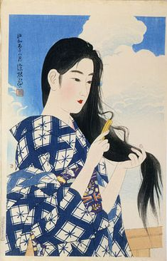 "Japanese Art Print ""Washed Hair"" by Shinsui Ito, woodblock print reproduction, fine art, asian art, Art And Illustration, Woodblock Print, Art Chinois, Art Asiatique, Art Japonais, Japanese Painting, Japanese Prints, Japan Art, Print Artist"