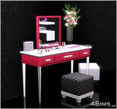 Modern vanity set - 4Sims custom vanity that doubles as a desk. pop up mirror, and jewelry holding drawers.