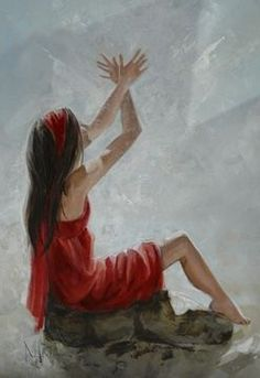 Woman worshiping the Lord with hands raised like angel wings.