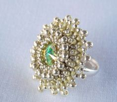 Bead Embroidery  ring    Seed beads jewelry Fashionable by Vicus, $28.00