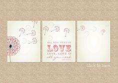 Beatles, All you need is love... Nursery / Kids Room Giclée Art Prints, 3 Print Set, Custom match colors to your nursery/room, 8 x 10. $52.00, via Etsy.