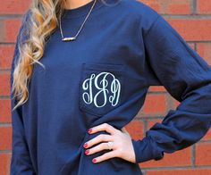 Monogrammed Women's Long-Sleeved Pocket T-shirt with Circle Monogram. Great shirt for all ages. Cute and preppy casual shirt.