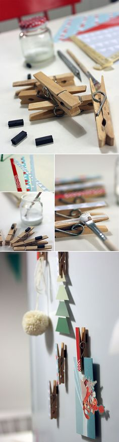 Jääkaappimagneetti pyykkipojista.  lasten | askartelu | joulu | käsityöt | koti | DIY ideas | kid crafts | christmas | home | decor | Pikku Kakkonen