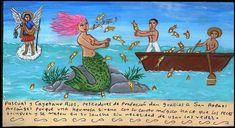 Рыбаки Паскуаль и Кайетано Риос благодарят Архангела Рафаила, поскольку прекрасная сирена своим пением заставила рыб самих запрыгивать из воды в лодку, так что даже не пришлось пользоваться сетью.