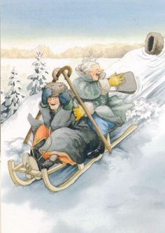 """""""Inge, Look! There Goes Another Hat!""""~ Artist: Inge Look. Art And Illustration, Old Folks, Old Women, Oeuvre D'art, Finland, Illustrators, Cool Art, Have Fun, Artsy"""