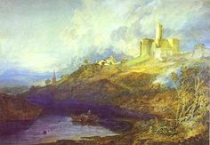 Warkworth Castle, Northumberland; Thunderstorm Approaching at Sunset - William Turner, 1799