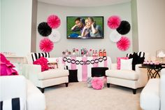 Love the paper decorations and the colors for a bachlorette party