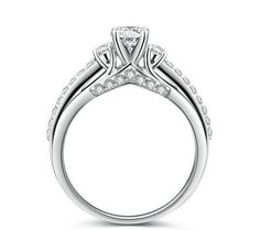 1CT round cut diamond promise engagement ring