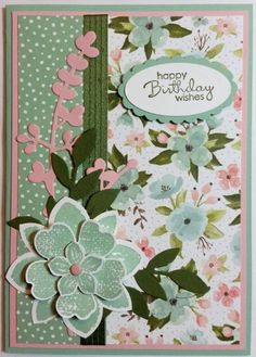 Birthday Card - using Stampin' Up! DSP Birthday Bouquet and Petite Pairs, Petal Potpourri, Flower Shop & Petite Petals Stamp Sets by graciela