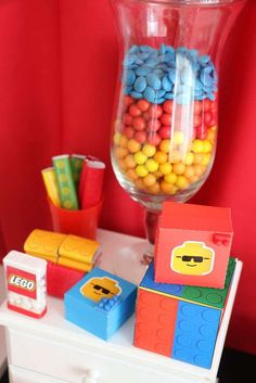 Fun treats at a Lego birthday party! See more party ideas at CatchMyParty.com!