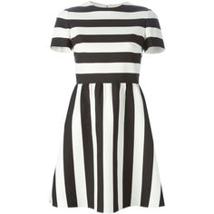 Valentino Striped Mini Dress ($3,990) ❤ liked on Polyvore featuring dresses, daytime, kirna zabete, short sleeve mini dress, zipper back dress, a line dress, short sleeve dress and valentino dresses