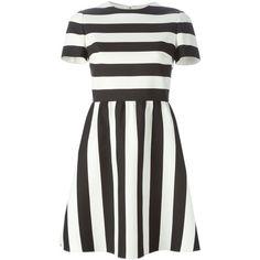 Valentino Striped Mini Dress (26.180 DKK) ❤ liked on Polyvore featuring dresses, daytime, kirna zabete, valentino dresses, short dresses, striped dress, stripe dress and a line mini dress