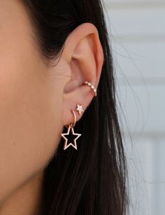 14kt gold and diamond star hoop earring – Luna Skye