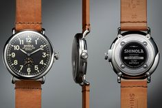 The Shinola Runwell Watch ($550) is hand-made in D-town using nearly four-dozen Swiss-made parts. Features include an Argonite 1069 quartz movement, a domed sapphire crystal, a 40 or 47mm stainless steel case, an illuminated dial, and a vegetable-tanned Horween leather strap.