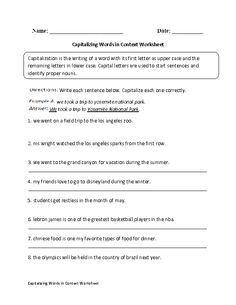 Capitalizing Words in Context Worksheet