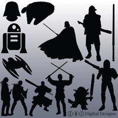 12 Star Wars Silhouette Clipart Images by OMGDIGITALDESIGNS