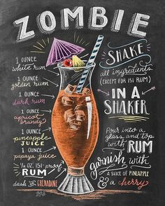 Because I haven't shared a cocktail drawing in a while and it's almost Halloween!🍹You can find this recipe in the 2018 cocktail calendar! Cheers to the weekend! Bar Drinks, Cocktail Drinks, Alcoholic Drinks, Beverages, Mojito, Zombie Cocktail, Zombie Food, Zombie Drink, Best Summer Cocktails