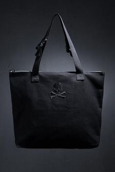 tote bag/canvas tote bag/tote bag canvas/SKULL BAG/Skull Embroidered Tote Bag