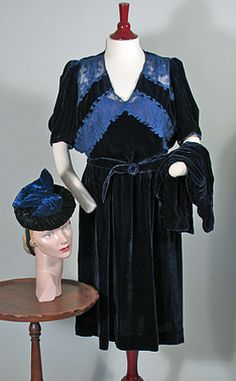 1940s Midnight Blue Rayon Velvet and Lace Dress Set with Hat SZ L - XL