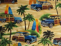 Surfboards Woody Tropical Floral Bright Colors Cotton by scizzors, $2.99