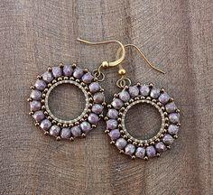 Lilac Old Gold Beaded Hoop Dangle Earrings by lamaisondefloria