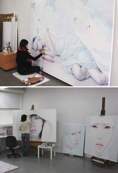 Kwon Kyung Yup painting in her art studio #workspace.