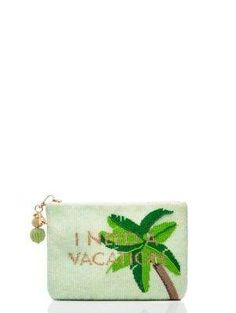 3230abb4afb31f on purpose palm tree beaded pouch - Kate Spade New York Beaded Clutch,  Beaded Bags