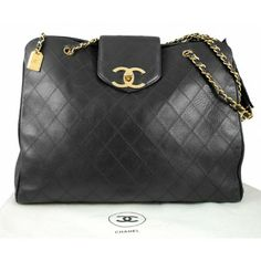 Vintage Chanel Black Quilted Lambskin Overnight XL Shopping Tote Bag