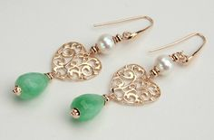 Jade Earrings, Green Jade and White Pearls, Sterling Silver 925 Rose Gold 24kt, Italian Jewels, Handmade in Italy Earrings,Gift for Her 1333