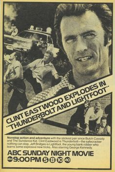 1977 Tv guide Ad Clint Eastwood Thunderbolt and Lightfoot ABC tv movie Promo