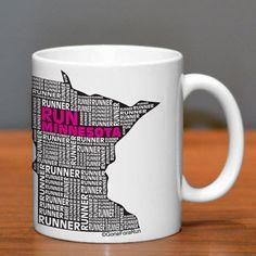 Minnesota State Runner Ceramic Mug | Running Coffee Mugs | Coffee Mugs for Runners