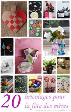 20 idées bricolage pour la fête des mères Pour tous les goûts et tous les âges http://www.lacourdespetits.com/bricolage-fete-des-meres/ #fetedesmeres #motherday