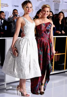 Jennifer Lawrence and Elizabeth Banks attend 'The Hunger Games: Mockingjay Part 1' film premiere in Los Angeles, California on November 17th, 2014.