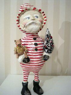 Folk art Santa Claus doll  papier mache folk art by Joannabolton