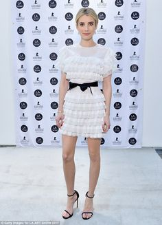 Looking all white! Emma Roberts in  Huishan Zhang attended the LA Art Show on January 11, 2017