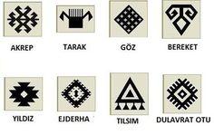Türk kültüründe bazı kilimlerin motifleri ve anlamları. Turkish Pattern, Disney Cross Stitch Patterns, Fish Logo, Persian Motifs, Symbol Tattoos, Folk Embroidery, Ancient Symbols, Wooden Art, Mini Tattoos