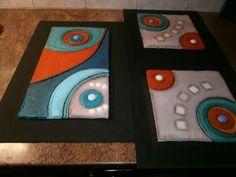 Tripico abstracto en pasta piedra