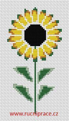 Sunflower, free cross stitch patterns and charts - www.free-cross-stitch.rucniprace.cz