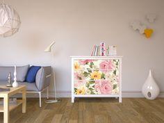 """Das romantische Design """"Vintage Flowers"""" für deine Hemnes Kommode - Hach! #designfolie #moebelfolie #ikea #ikeahacks #dekoideen"""