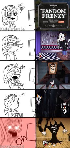 Fandom Frenzy reactions by on DeviantArt Bendy Y Boris, Cuphead Game, Deal With The Devil, Video Game Memes, Fandom Crossover, Baguio, Bendy And The Ink Machine, Funny Games, Scary Games